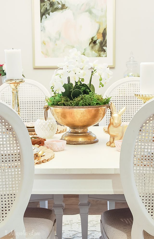 Easy Orchid Centerpiece Easter Tablescape 11 Magnolia Lane Easter Dining Room Table Decor Dining Room Table Centerpieces Dining Room Centerpiece