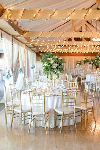 Green, White, Gold Country Club Wedding