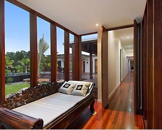 Charming Resort Design with Contemporary Look: Chic Traditional Bedroom Glass Wall Day Bed Pavilion House