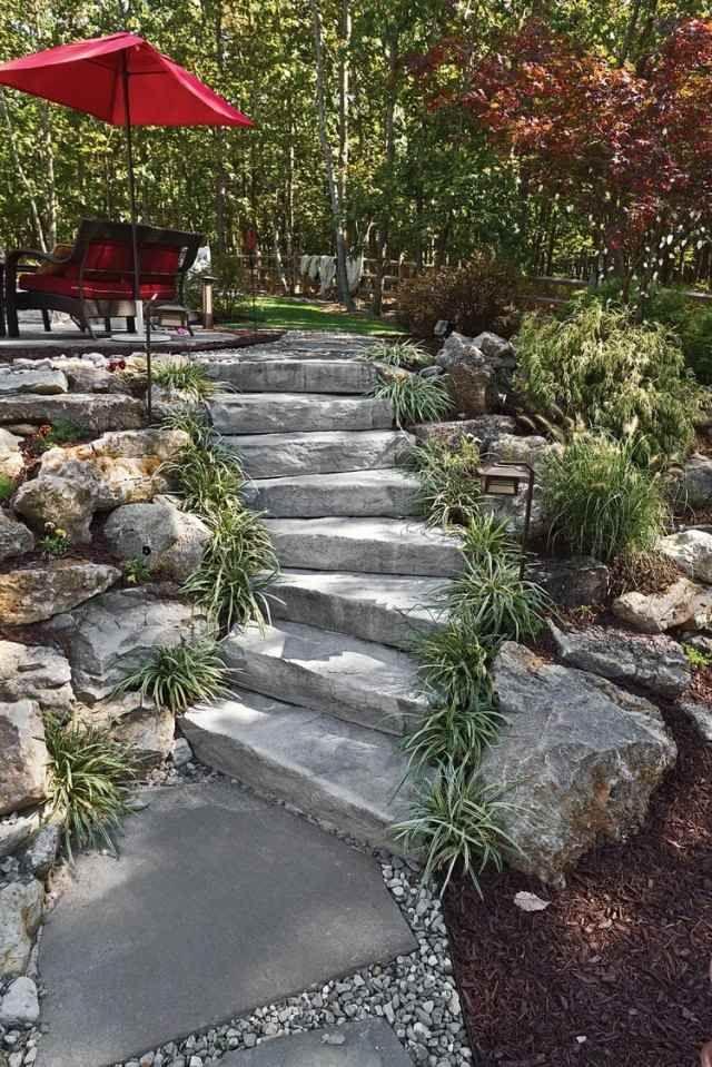 rocaille-jardin-graminées-ornementales-marches-pierre-terrasse-parasol