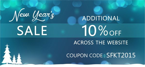 Get Additional 10% OFF Across the website. Use Coupon Code SFKT2015