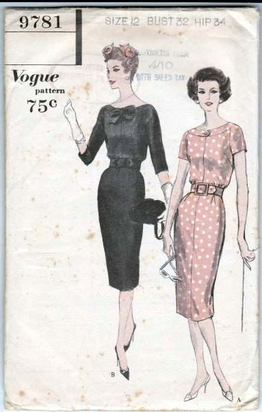 Sz 12 Vintage 50s Vogue Sewing Pattern 9781 Wiggle Dress