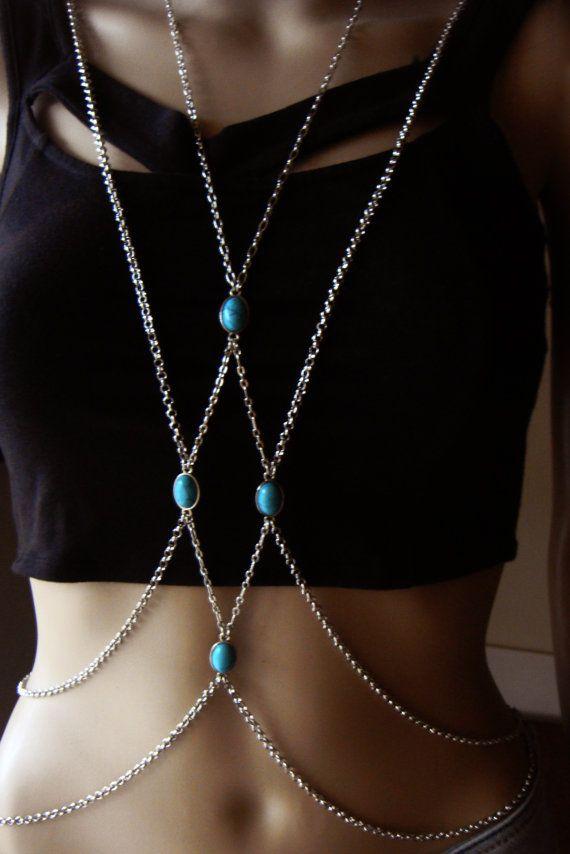 Bohemian Silver Chain Body Harness Body Chains Body by Ninnos