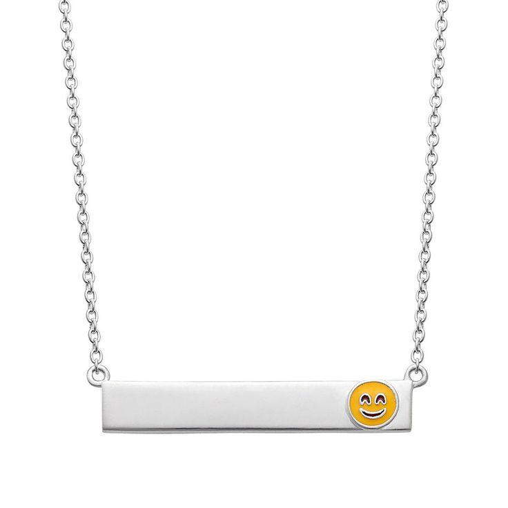 "Sterling Silver Smiley Emoji Bar Necklace, Women's, Size: 16"", Grey"