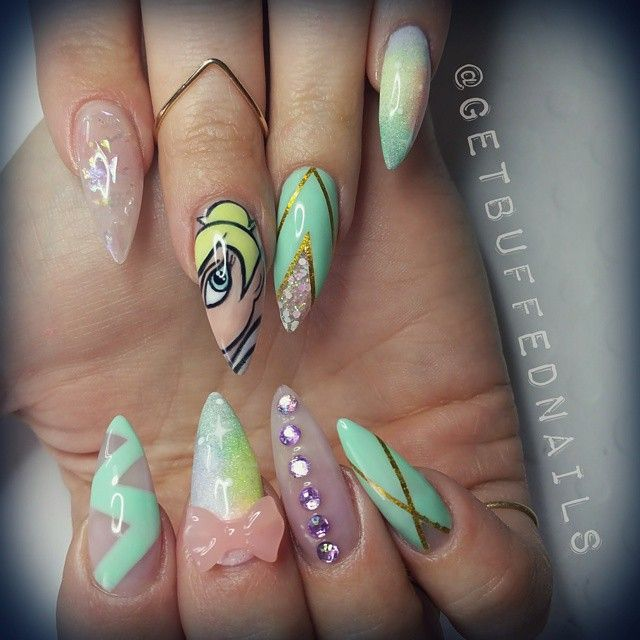 "Stiletto Nails Inspired By Tinker Bell From Disney's ""Peter Pan"""