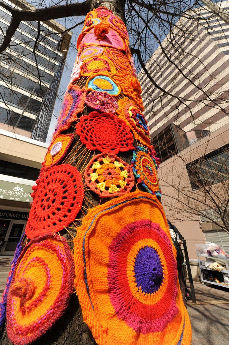 Artisphere Yarn Bomb Softens Rosslyn - Arlington Magazine - March-April 2013 - Arlington, VA