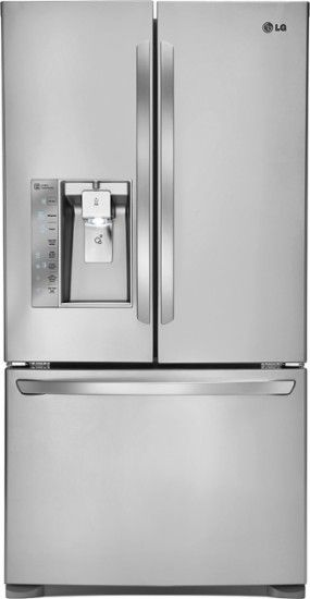 LG - 24.0 Cu. Ft. Counter-Depth French Door Refrigerator with Thru-the-Door Ice and Water - Stainless Steel - Front Zoom