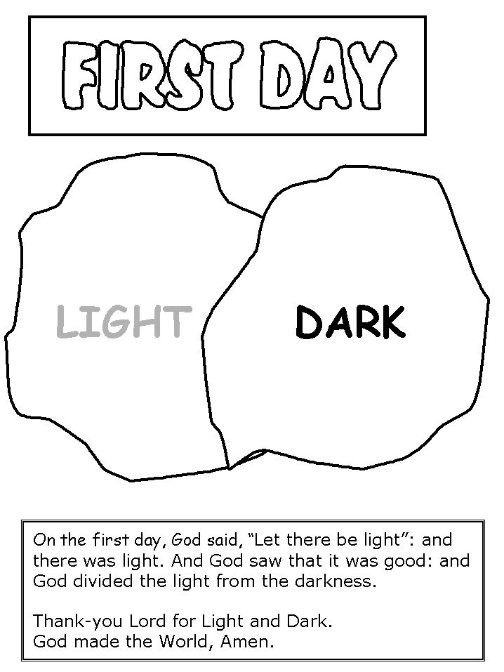 day 1 creation worksheet for toddlers - Google Search