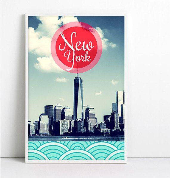 NY Print New York City NYC Typographic Poster Pop Art por Fybur