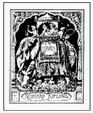 """Rudyard Kipling bookplate, designed by his father John Lockwood Kipling ~ Joseph Rudyard Kipling (India,1865-1936) was an English journalist, short-story writer, poet, and novelist. Kipling's works of fiction include The Jungle Book, Kim, and many short stories, including """"The Man Who Would Be King""""."""