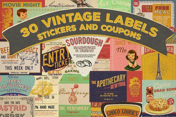 @newkoko2020 30 Vintage Labels & Stickers by KlapauciusCo on @creativemarket #bundle #set #discout #quality #bulk #buy #design #trend #vintage #vintagegraphic #graphic #illustration #template #art #retro #icon