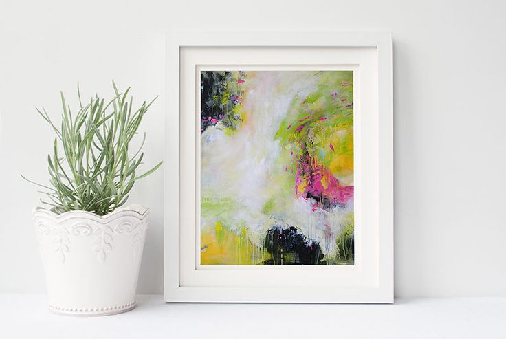 Printable Abstract Painting, Yellow, Pink, Black, Instant Download