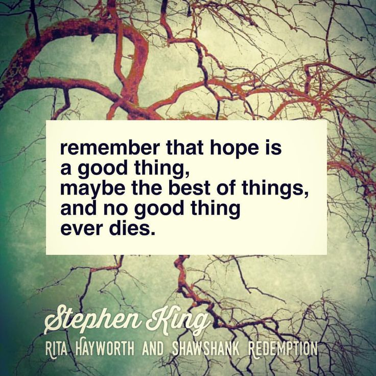 """""""Remember that hope is a good thing, maybe the best of things, and no good thing ever dies.""""   - Stephen King, Rita Hayworth and Shawshank Redemption"""