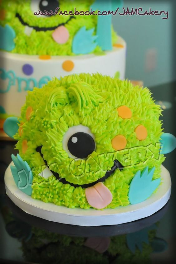LOVE THIS LITTLE BOY's smash cake!!  littlemonstersmash1.jpg 600×903 pixels