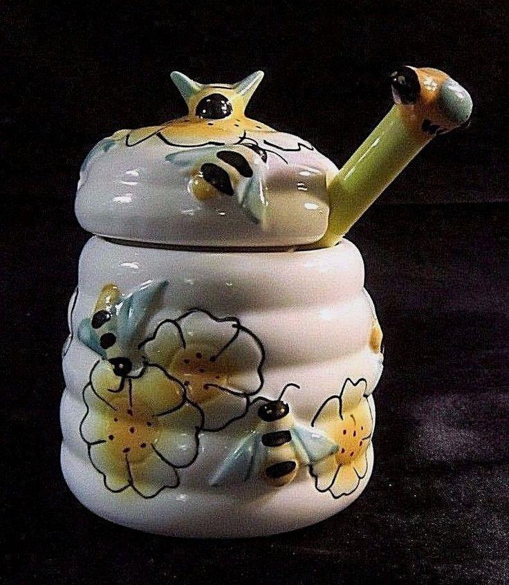 GLAZED CERAMIC BEEHIVE HONEY POT w/Notched Lid & Ceramic Honey Wand, Bee Finial $15.99