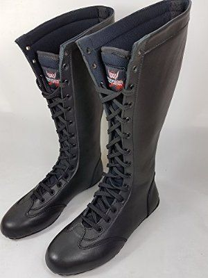 Professional Wrestling Boots - Hand Made Leather NOT Costume (Black, UK8)