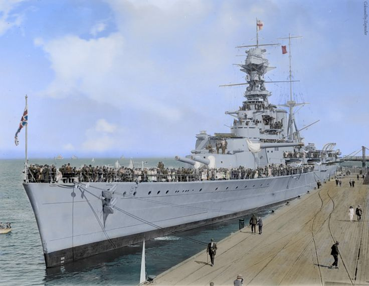 HMS Hood in 1924 moored in Australia. Destroyed by the German Battleship Bismark however some historians claim that the fatal shot was actually delivered from the Prinz Eugene which was the light cruiser which accompanied the Bismark during its' fateful voyage.