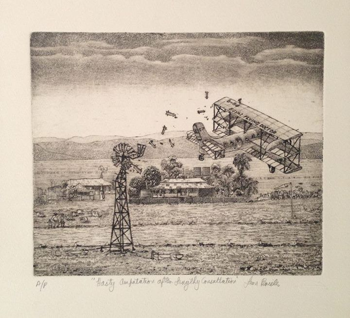 'Hasty Amputations after Lengthy Consultation' - Outback Royal Flying Doctors by Leon Pericles