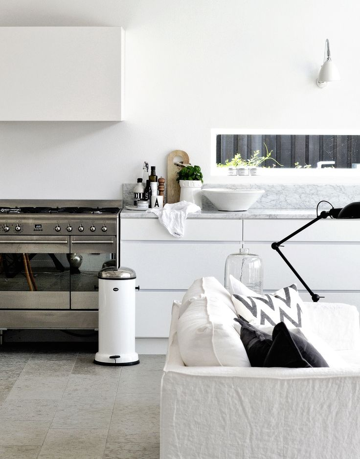 #3. White scandinavian inspired kitchen, no upper cabinets, white painted fronts. Small and cosy.