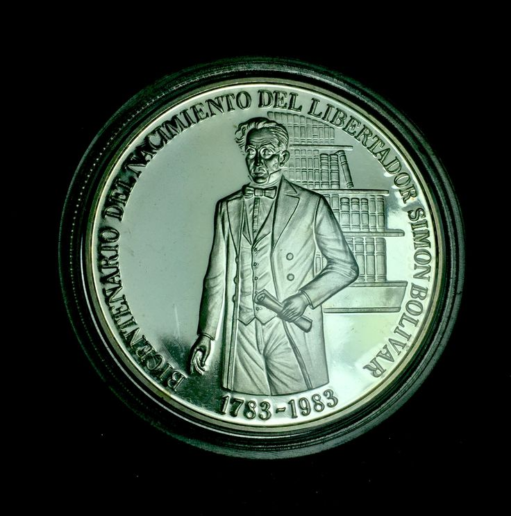 100 silver  bolivares coin commemorating the Bicentennial of Simon Bolivar birth 1783 - 1983  (obverse) 0.90 (31.10 grams)