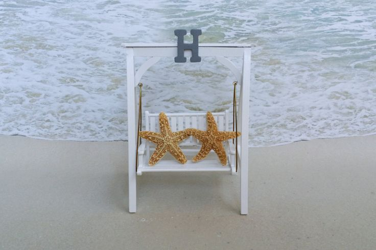 Beach Swing Cake Topper with Starfish- Choice of Letter Color - Nautical Beach Sea Coastal Tropical Bench Chair Wood Star Fish by ParadiseBridal on Etsy