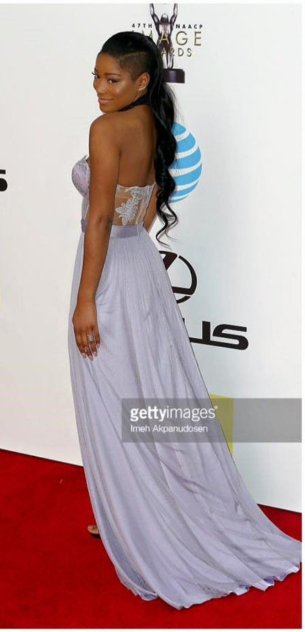 Famous American actress Keke Palmer looked absolutely stunning wearing a pure silk CRISTALLINI gown on the red carpet at the 47th NAACP Image Awards. The dress is part of SS2016 Collection #EveningDress #Prom #SilkTull #LavenderDress