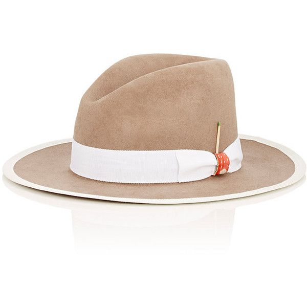 Nick Fouquet Men's The White Arrow Fur Felt Fedora ($1,225) ❤ liked on Polyvore featuring men's fashion, men's accessories, men's hats, mens felt fedora, mens fur hats, mens wool felt fedora hats, mens felt hat and mens hats fedora