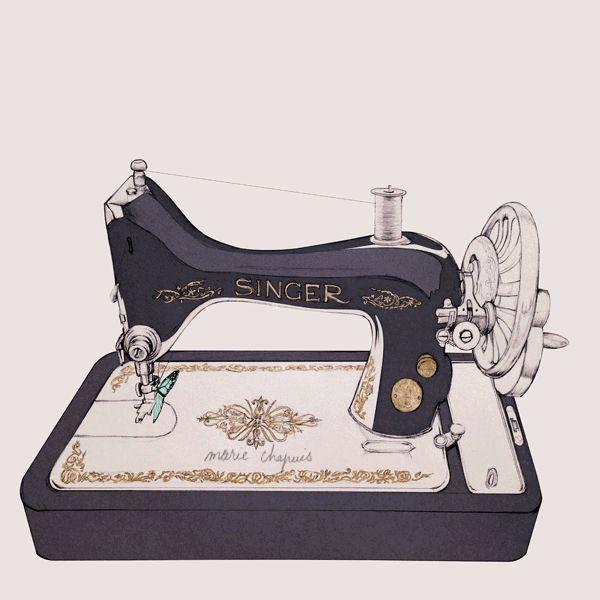 Marie Chapuis illusztráció pillangó varrógép,Így működik a varrógép