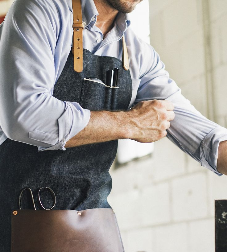 Selvedge Denim & Leather Work Apron | Slip on this industrial apron any time you need to get down an... | Aprons