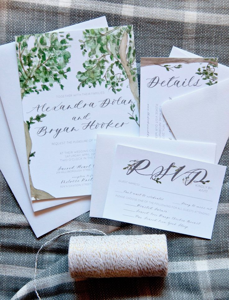 what should an evening wedding invite say%0A DETAILS SHOWN     u   e This wedding invitation features beautiful trees and  greenery with a bright soft background perfect for a summer wedding  or can  be