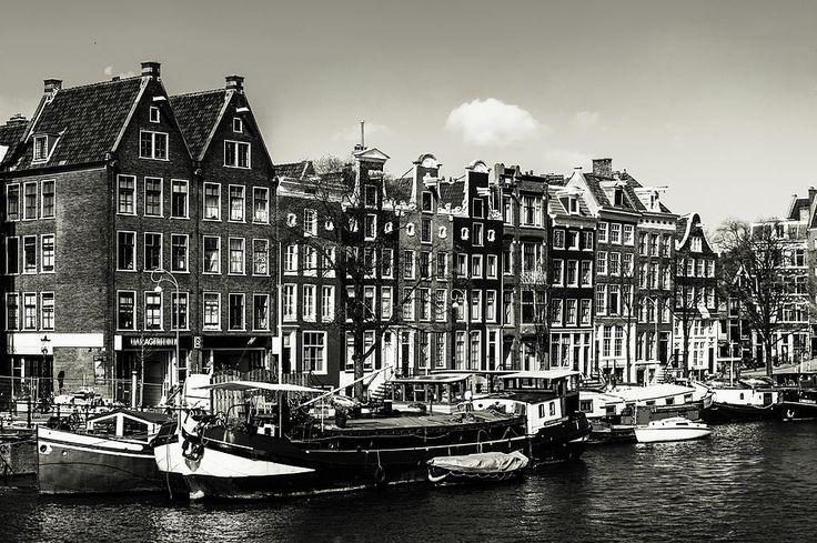 Typical Dutch Buildings In Amsterdam. Monochrome by Jenny Rainbow