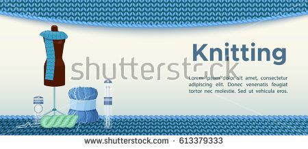 Knitting banner or flyer with wool and  hobby accessories and ha