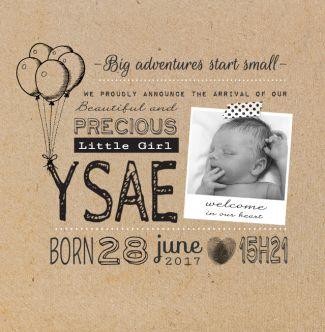 Mooi en hip foto geboortekaartje met eigen foto en karton, waarin de tekst centraal staat. De kaart wordt niet gedrukt met letterpers. Gebruik deze kaart en maak hiervan zelf je eigen persoonlijke geboortekaartje. Wil je de kaart door ons laten opmaken? Geen probleem, wij helpen je graag!