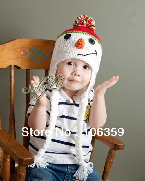 adorable baby schneemann einzelhandel handgefertigt kinder hut ohr klappe beanies hüte häkeln kleinkind mütze
