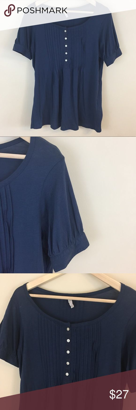 "Joie Pima Cotton Blue Short Sleeve Top Size Medium Joie knit top size small.  Good condition.  Short sleeves with button.  Button and pleated front. Pima cotton.  MEASUREMENTS Length 27"" in front, 29"" in back. Armpit to armpit 20"" Joie Tops"