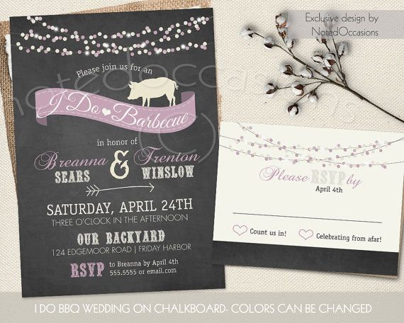 Country Western I Do BBQ Wedding Reception Invitation Set. Country Western  Chalkboard Wedding Reception Barbecue