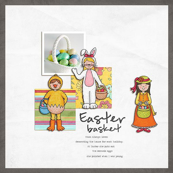 Easter digital scrapbook page created with the Egg Hunters digital scrapbook kit from Kate Hadfield Designs! Layout by Creative Team member Melanie