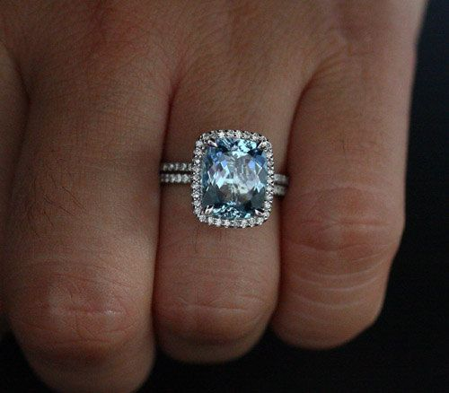Flawless Aquamarine Engagement Ring Diamond Halo Ring Bridal Set in 14k White Gold Aquamarine Cushion 11x9mm and Diamonds