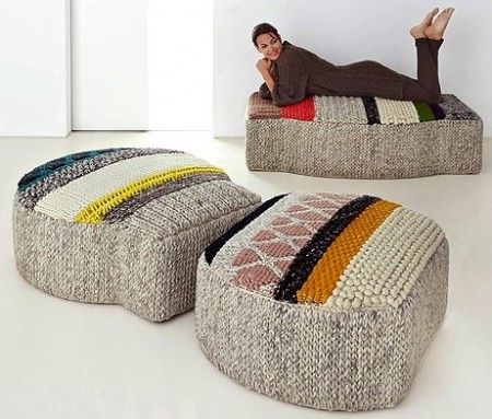 This Patricia Urquiola Design Embodies An Assortment Of Wool Knit Patterns  Based On A Number Of Different Patchworks. The Footstool Collection Comes  In ...