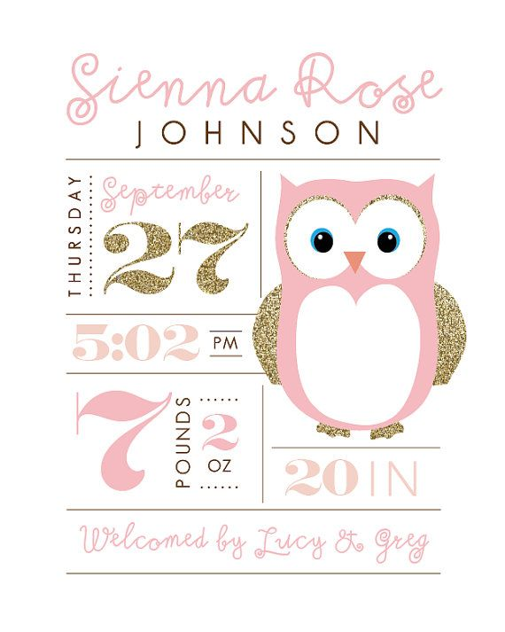 Printable nursery art Birth stats Owl baby by PrettiestPrintShop                                                                                                                                                     More
