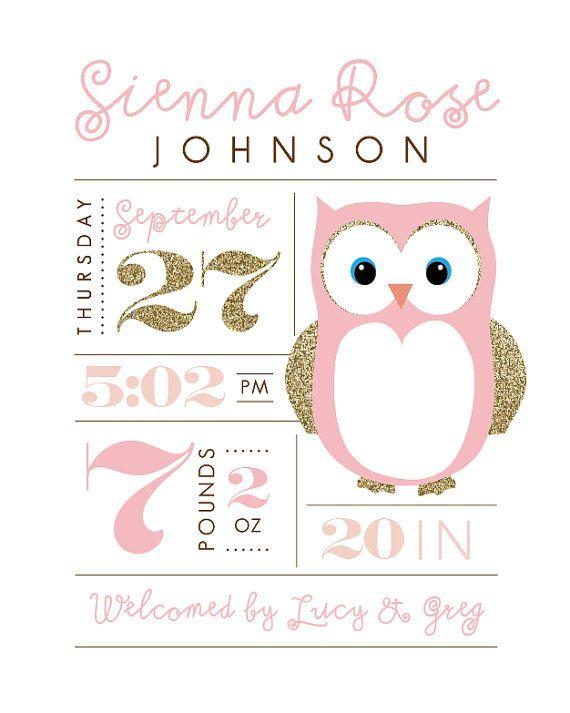Printable nursery art Birth stats Owl baby by PrettiestPrintShop