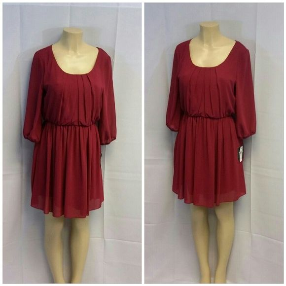 """Wine Sheer Fully Lined pleated Neckline Dress Lg Wine, Sheer Fully Lined,  pleated Neckline Dress, size Large, gathered at elastic waist, elastic hemmed sheer unlined 3/4 length sleeves, belt loops, machine washable, 100% polyester sheer shell, 100% polyester solid lining,  33"""" length shoulder to hem, 20"""" bust laying flat,  17"""" sheer sleeves, 16"""" shoulder seam to shoulder seam. NEW WITH TAG! By and By Dresses"""