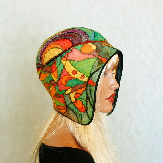 Colorful hat felted ,Fancy cap Silk wool cap Multicolor hat cheerful hat…