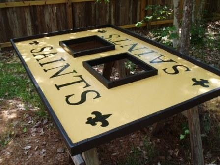 Saints Crawfish Tables!  What a great idea.  Easy clean up!