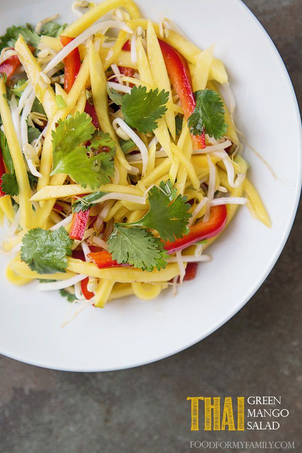 Thai Green Mango Salad #recipe from Matahari: Green Mango Salad -Julienne green mangoes, lettuce, cucumber, carrot, red onion and mint in a spicy lime vinaigrette, topped with crushed peanuts and sesame.
