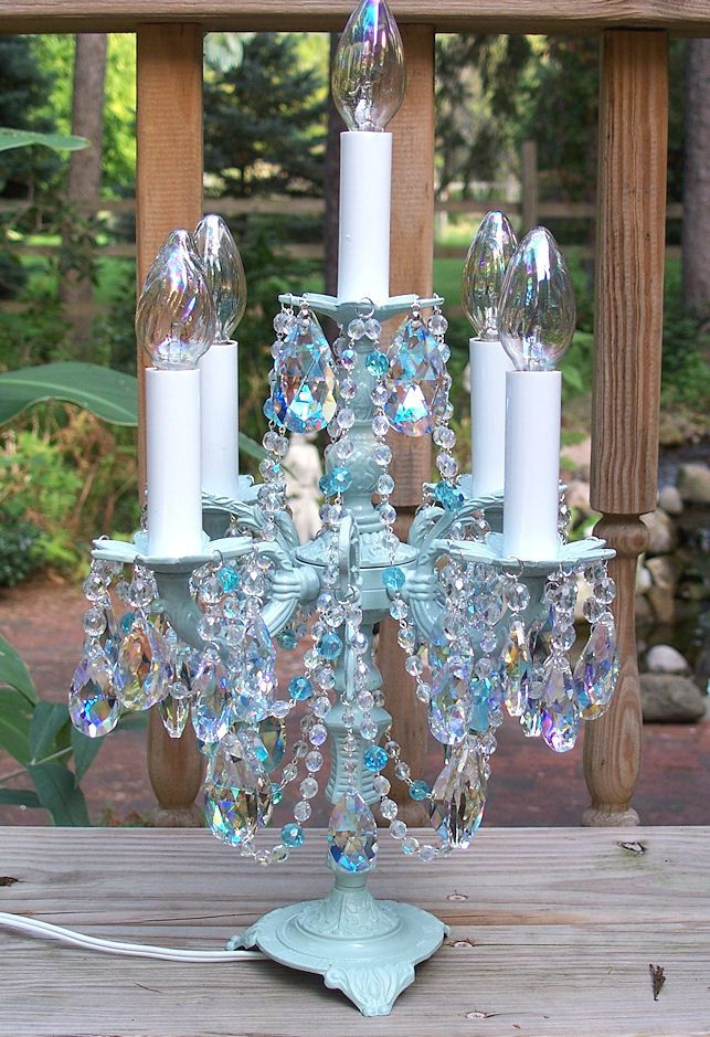 Ice Crystal Candelabra Chandelier Table Lamp