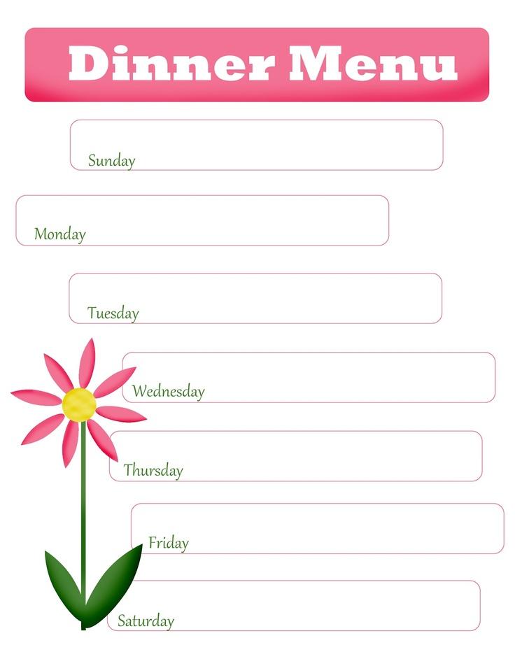 weekly dinner menu templates - Akbagreenw