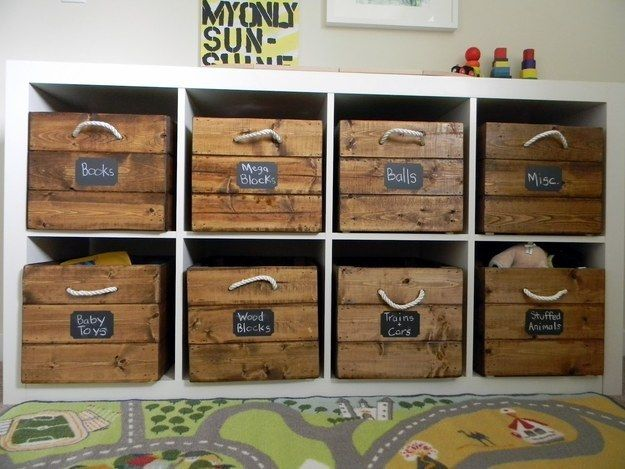 Blend your storage with your style. | 49 Clever Storage Solutions For Living With Kids *note: make these from pallets