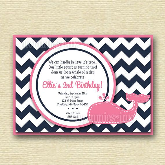 Preppy Chevron Whale Birthday Party Invitation  Navy by MommiesInk, $12.50
