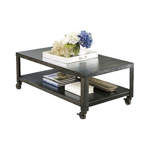Hattney Rectangular Cocktail Table Gray ($240) ❤ liked on Polyvore featuring home, furniture, tables, accent tables, brown, signature design by ashley furniture, signature design by ashley, grey table, gray furniture and colored furniture